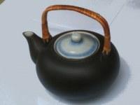 Théière ronde 1L céramique ext. noir décor bleu