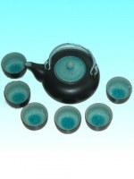 Service à thé rond céramique turquoise GM