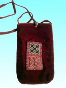 Sacoche portable velours  motif Hmong