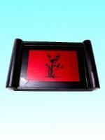 Plateau laqué rectangle noir et rouge bambou