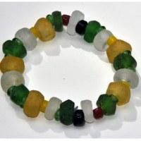 Bracelet en verre recyclé dépoli tons jaune, blanc, vert extensible