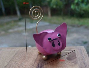Porte photo cochon en métal recyclé 5x8 cm