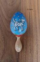maracas chat en mahogany peint à la main 11.5 cm