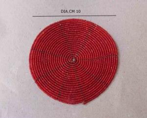 Sous verre en perles rouges 10 cm
