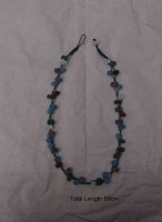 RECYCLED GLASS BEADS NECKLACE LIGHT BLUE, WHITE.