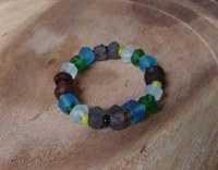 RECYCLED GLASS BEADS BRACELET LIGHT BLUE, WHITE, GRAY, BROWN, GREEN.