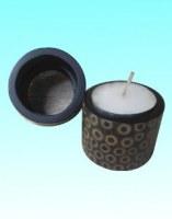 Rond de serviette ou bougeoir incrusté de bambou noir