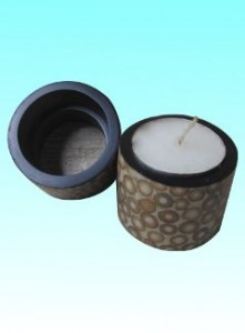 Rond de serviette ou bougeoir incrusté de bambou blanc