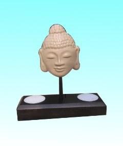 Bougeoir bouddha 15x16,5 cm noir