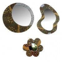Lot de 3 Miroirs bromo fleur MDF, peint à la main