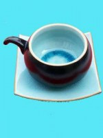 Tasse à Café ronde turquoise avec sous tasse carrée