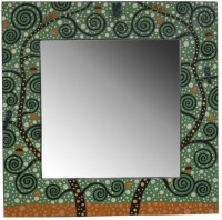 Miroir carré artistique dominante VERT