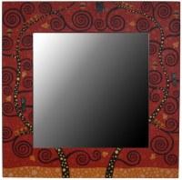 Miroir carré artistique dominante ROUGE