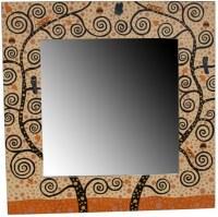 Miroir carré artistique dominante BEIGE