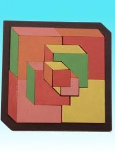 Géo-cubes Asia rose-orange-jaune-vert