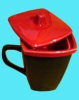 Tisanière céramique rouge
