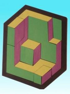 Géo-cubes Asiavert-jaune-violet