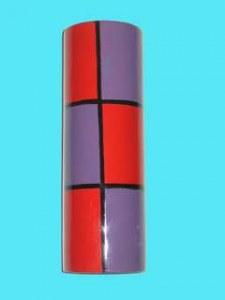 Vase laqué rond violet et rouge